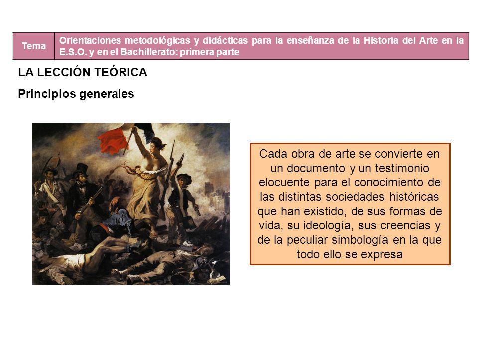 Tema Orientaciones metodológicas y didácticas para la enseñanza de la Historia del Arte en la E.S.O. y en el Bachillerato: primera parte LA LECCIÓN TE