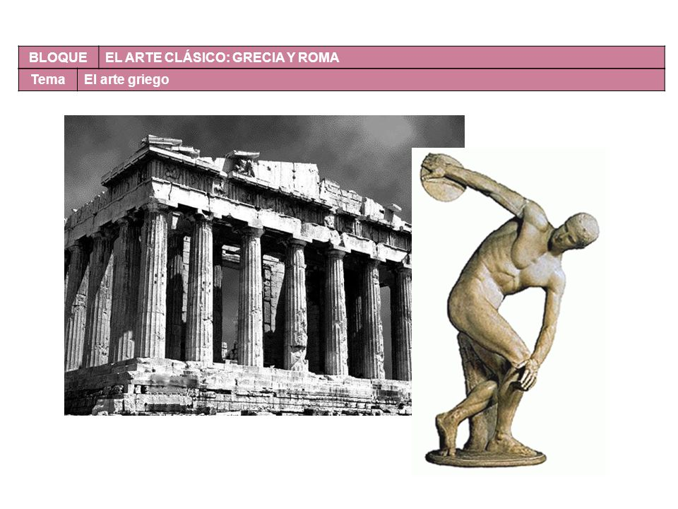 BLOQUE EL ARTE CLÁSICO: GRECIA Y ROMA TemaEl arte griego