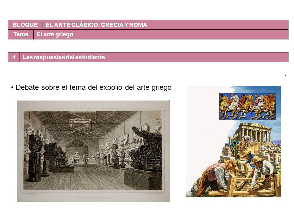 BLOQUE EL ARTE CLÁSICO: GRECIA Y ROMA TemaEl arte griego Debate sobre el tema del expolio del arte griego 4Las respuestas del estudiante
