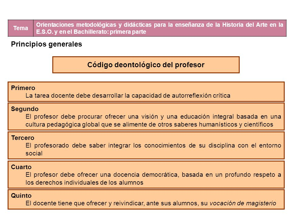 Tema Orientaciones metodológicas y didácticas para la enseñanza de la Historia del Arte en la E.S.O. y en el Bachillerato: primera parte Principios ge