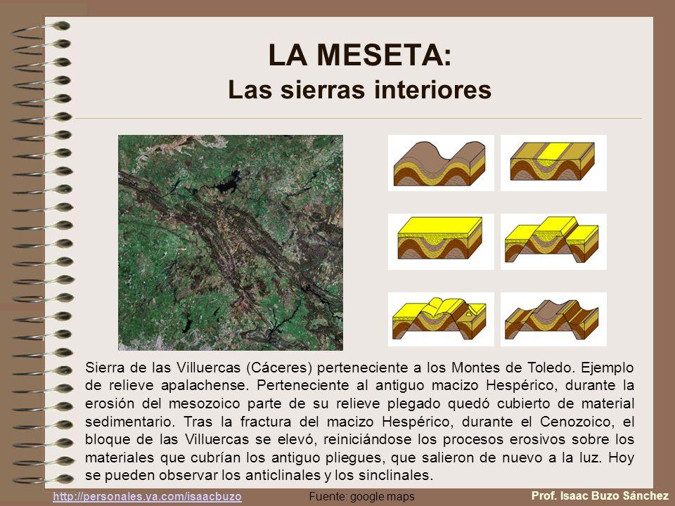 LA MESETA: Las sierras interiores Sierra de las Villuercas (Cáceres) perteneciente a los Montes de Toledo. Ejemplo de relieve apalachense. Pertenecien