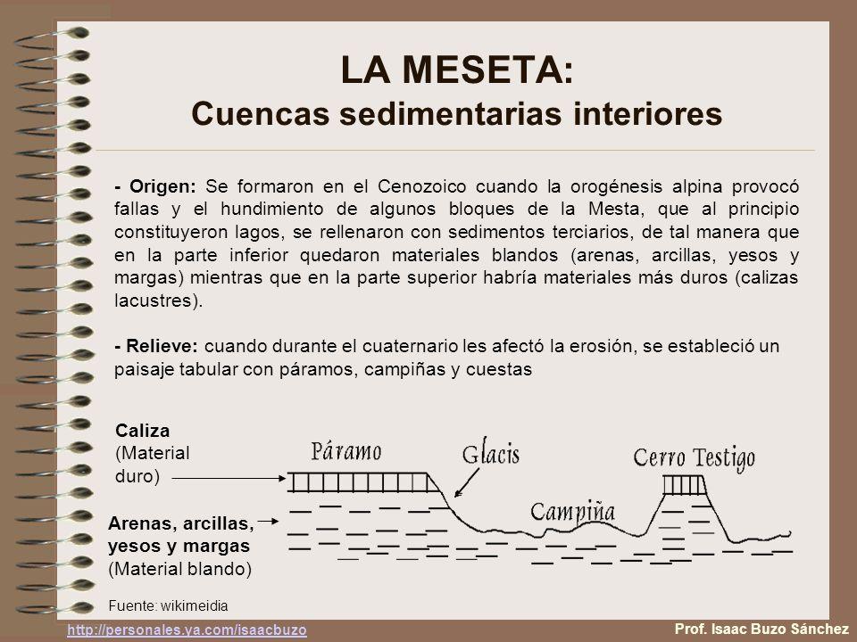 LA MESETA: Cuencas sedimentarias interiores - Origen: Se formaron en el Cenozoico cuando la orogénesis alpina provocó fallas y el hundimiento de algun