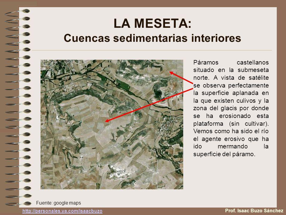 LA MESETA: Cuencas sedimentarias interiores Páramos castellanos situado en la submeseta norte. A vista de satélite se observa perfectamente la superfi