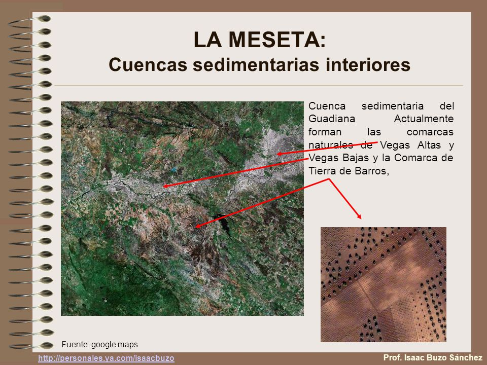LA MESETA: Cuencas sedimentarias interiores Cuenca sedimentaria del Guadiana Actualmente forman las comarcas naturales de Vegas Altas y Vegas Bajas y la Comarca de Tierra de Barros, Fuente: google maps Prof.