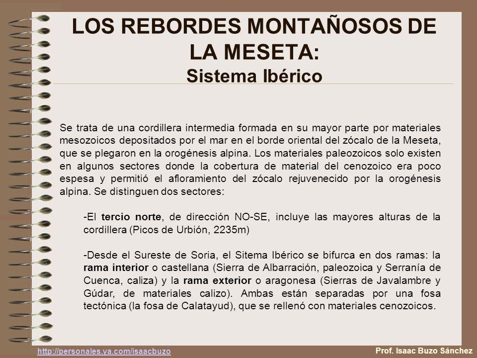 LOS REBORDES MONTAÑOSOS DE LA MESETA: Sistema Ibérico Se trata de una cordillera intermedia formada en su mayor parte por materiales mesozoicos depositados por el mar en el borde oriental del zócalo de la Meseta, que se plegaron en la orogénesis alpina.