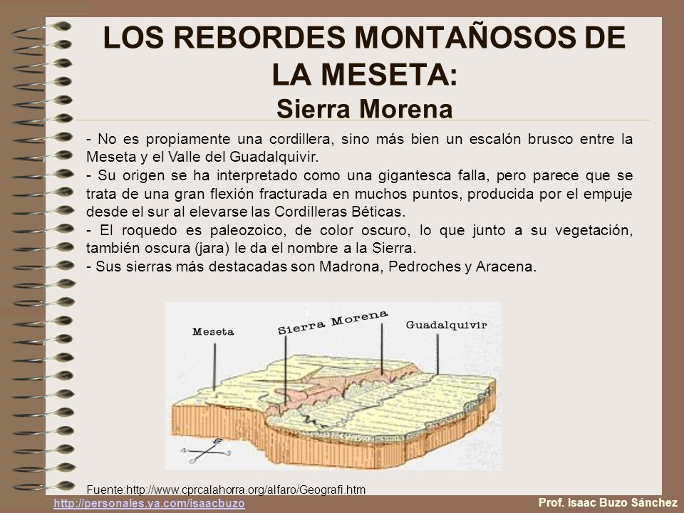 LOS REBORDES MONTAÑOSOS DE LA MESETA: Sierra Morena - No es propiamente una cordillera, sino más bien un escalón brusco entre la Meseta y el Valle del Guadalquivir.