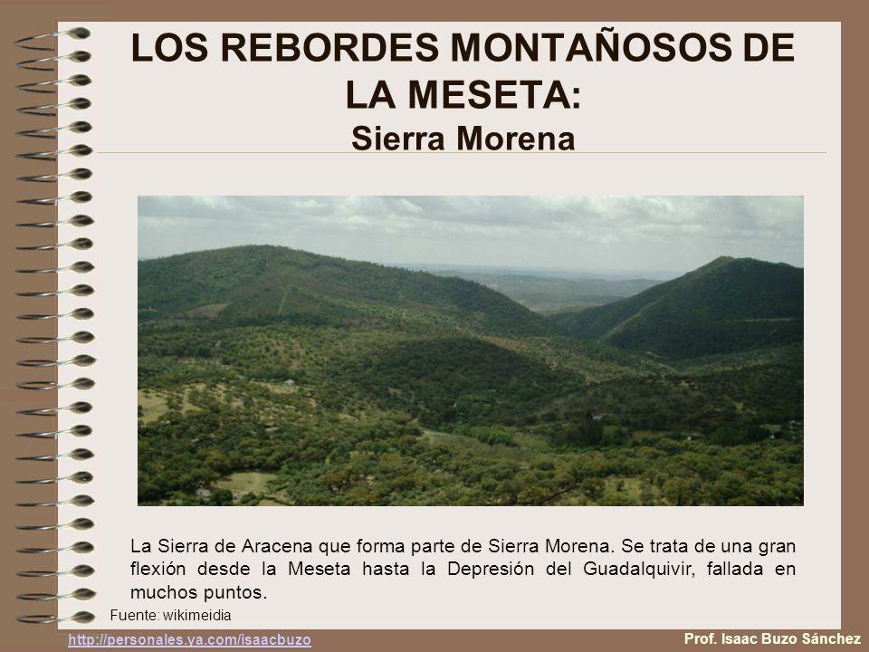 LOS REBORDES MONTAÑOSOS DE LA MESETA: Sierra Morena La Sierra de Aracena que forma parte de Sierra Morena. Se trata de una gran flexión desde la Meset