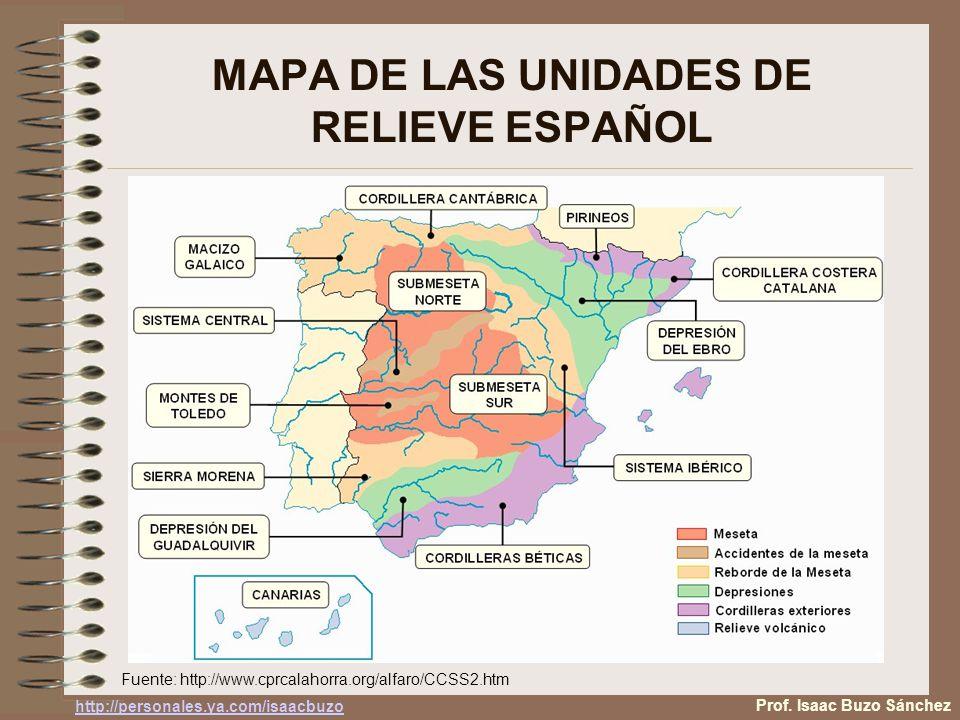 MAPA DE LAS UNIDADES DE RELIEVE ESPAÑOL Fuente: http://www.cprcalahorra.org/alfaro/CCSS2.htm Prof. Isaac Buzo Sánchez http://personales.ya.com/isaacbu