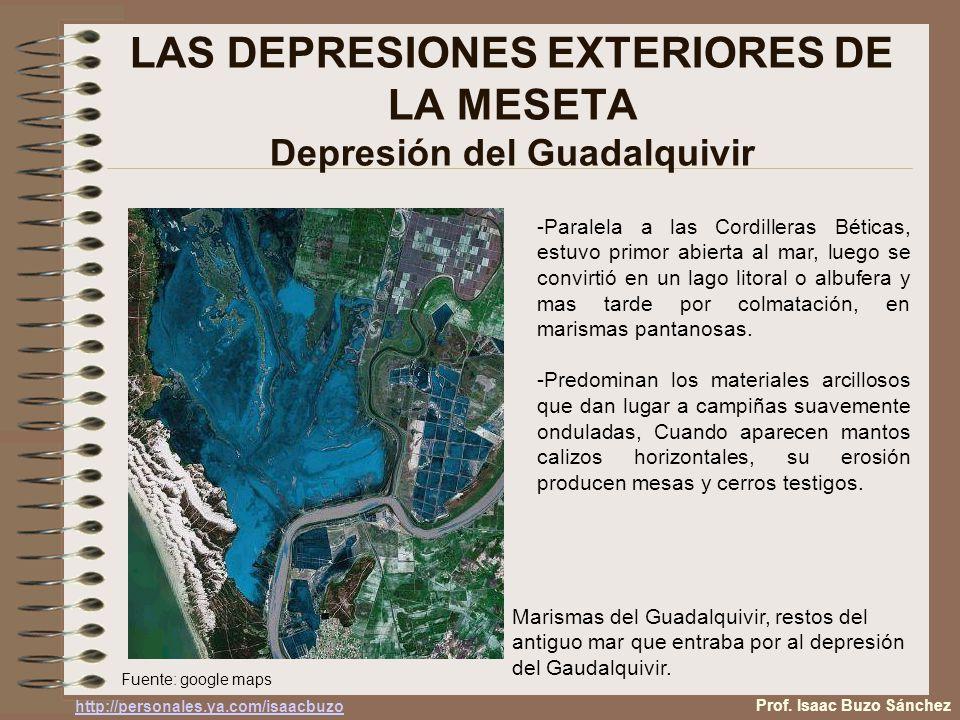 LAS DEPRESIONES EXTERIORES DE LA MESETA Depresión del Guadalquivir -Paralela a las Cordilleras Béticas, estuvo primor abierta al mar, luego se convirtió en un lago litoral o albufera y mas tarde por colmatación, en marismas pantanosas.
