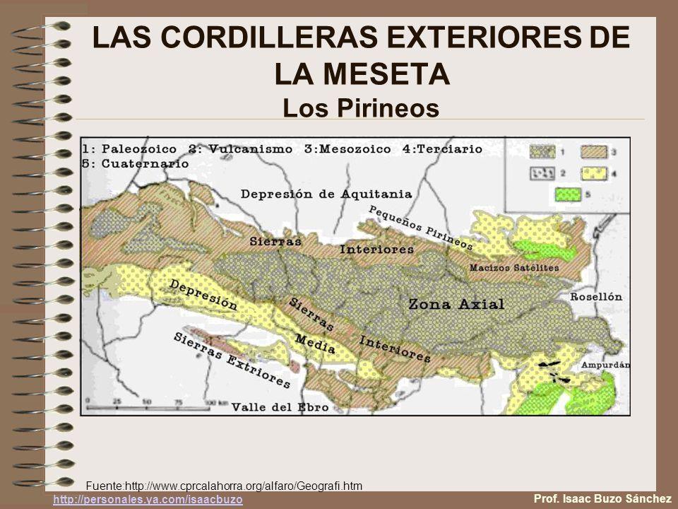 LAS CORDILLERAS EXTERIORES DE LA MESETA Los Pirineos Fuente:http://www.cprcalahorra.org/alfaro/Geografi.htm Prof. Isaac Buzo Sánchez http://personales