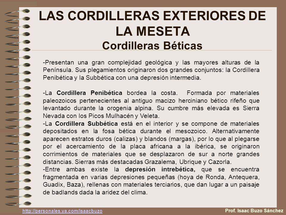 LAS CORDILLERAS EXTERIORES DE LA MESETA Cordilleras Béticas -Presentan una gran complejidad geológica y las mayores alturas de la Península.