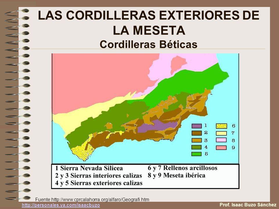 LAS CORDILLERAS EXTERIORES DE LA MESETA Cordilleras Béticas Fuente:http://www.cprcalahorra.org/alfaro/Geografi.htm Prof. Isaac Buzo Sánchez http://per