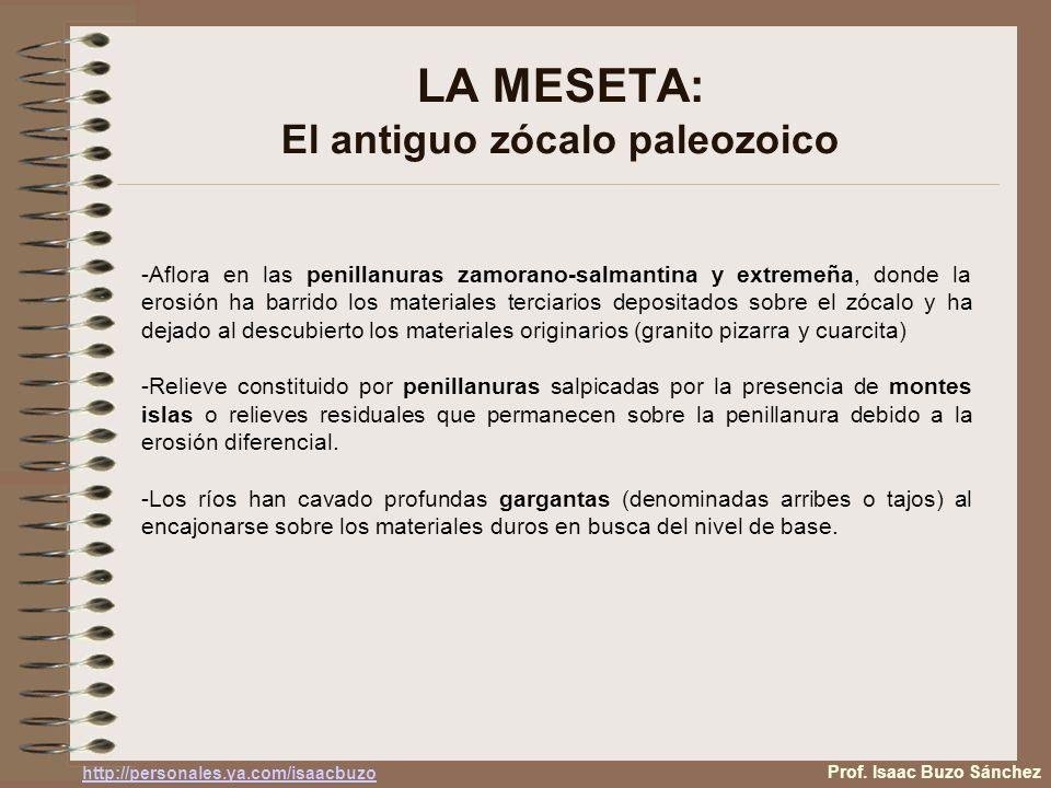 LA MESETA: El antiguo zócalo paleozoico -Aflora en las penillanuras zamorano-salmantina y extremeña, donde la erosión ha barrido los materiales terciarios depositados sobre el zócalo y ha dejado al descubierto los materiales originarios (granito pizarra y cuarcita) -Relieve constituido por penillanuras salpicadas por la presencia de montes islas o relieves residuales que permanecen sobre la penillanura debido a la erosión diferencial.