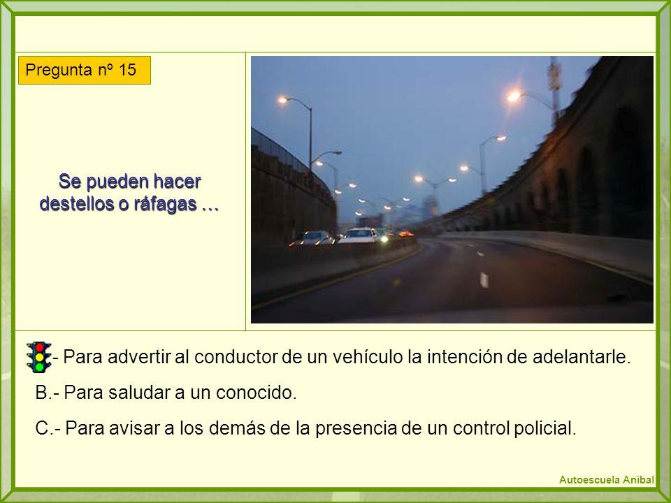 Se pueden hacer destellos o ráfagas … A.- Para advertir al conductor de un vehículo la intención de adelantarle. B.- Para saludar a un conocido. C.- P