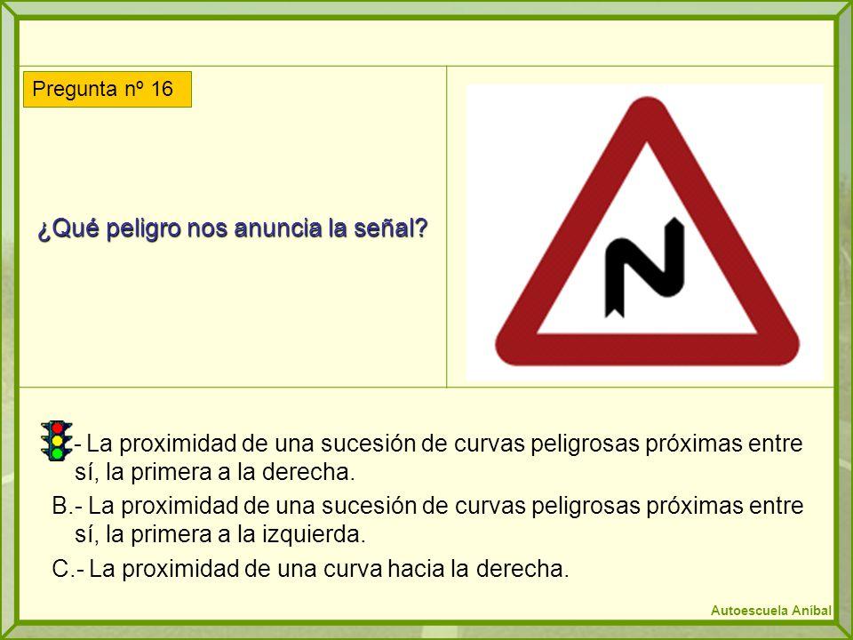 ¿Qué peligro nos anuncia la señal? A.- La proximidad de una sucesión de curvas peligrosas próximas entre sí, la primera a la derecha. B.- La proximida