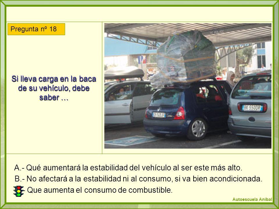 Si lleva carga en la baca de su vehículo, debe saber … A.- Qué aumentará la estabilidad del vehículo al ser este más alto. B.- No afectará a la estabi