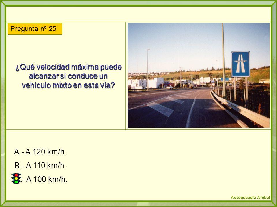 ¿Qué velocidad máxima puede alcanzar si conduce un vehículo mixto en esta vía? A.- A 120 km/h. B.- A 110 km/h. C.- A 100 km/h. Pregunta nº 25 Autoescu