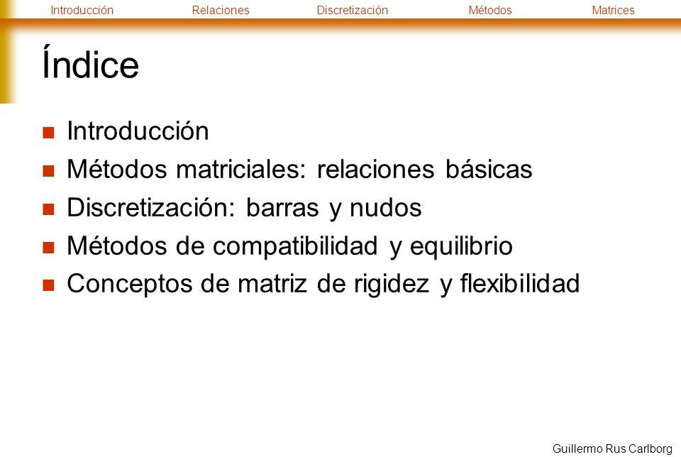 IntroducciónRelacionesDiscretizaciónMétodosMatrices Guillermo Rus Carlborg Índice Introducción Métodos matriciales: relaciones básicas Discretización: barras y nudos Métodos de compatibilidad y equilibrio Conceptos de matriz de rigidez y flexibilidad