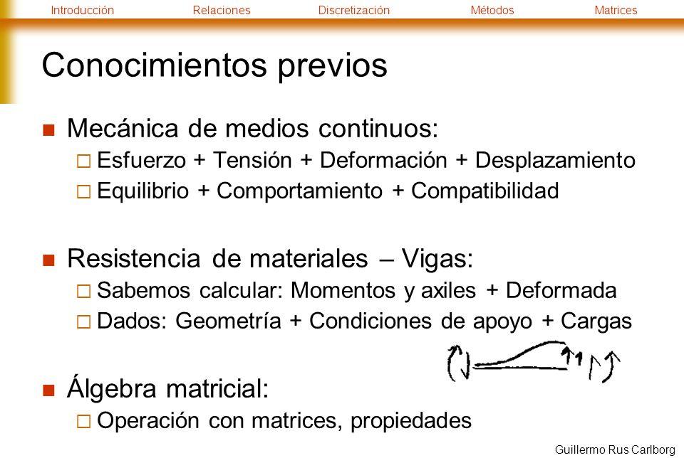 IntroducciónRelacionesDiscretizaciónMétodosMatrices Guillermo Rus Carlborg Conocimientos previos Mecánica de medios continuos: Esfuerzo + Tensión + Deformación + Desplazamiento Equilibrio + Comportamiento + Compatibilidad Resistencia de materiales – Vigas: Sabemos calcular: Momentos y axiles + Deformada Dados: Geometría + Condiciones de apoyo + Cargas Álgebra matricial: Operación con matrices, propiedades