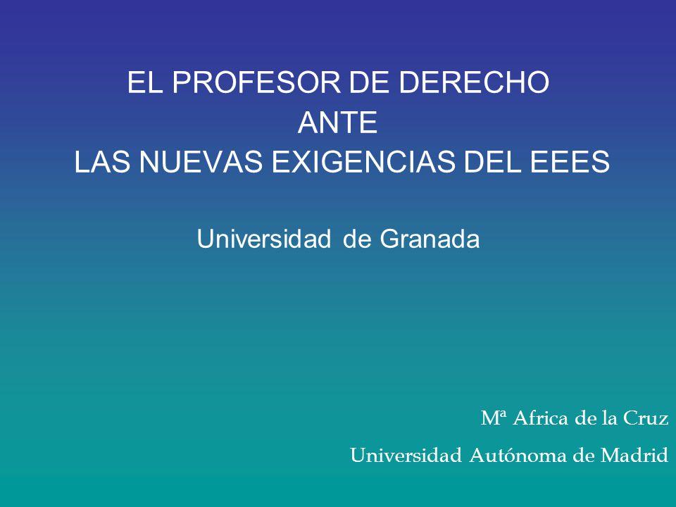 EL PROFESOR DE DERECHO ANTE LAS NUEVAS EXIGENCIAS DEL EEES Universidad de Granada Mª Africa de la Cruz Universidad Autónoma de Madrid