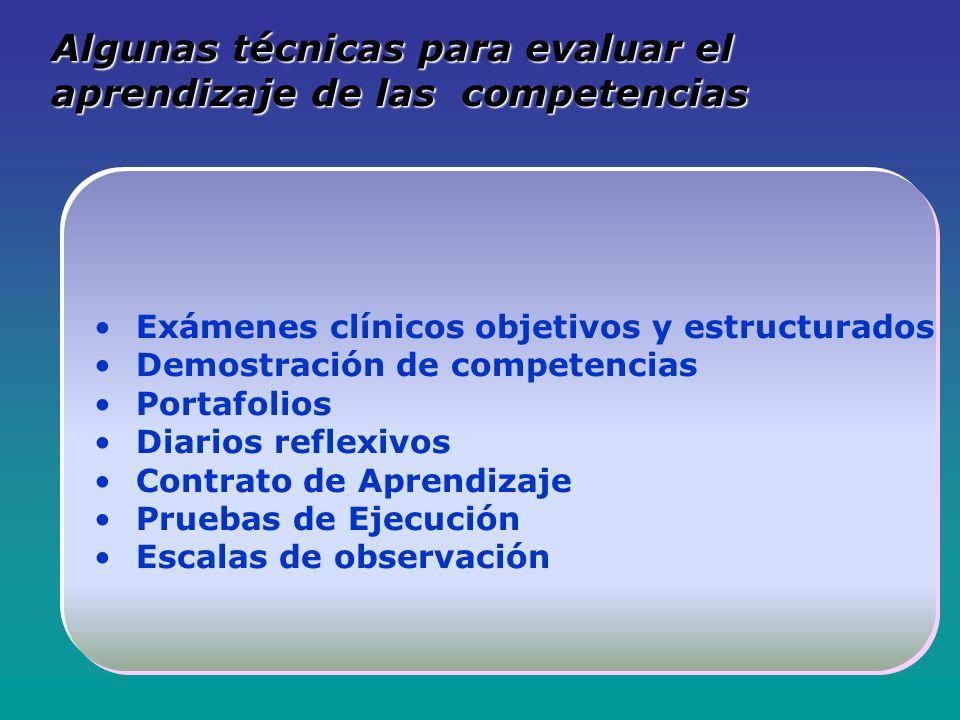 Algunas técnicas para evaluar el aprendizaje de las competencias Exámenes clínicos objetivos y estructurados Demostración de competencias Portafolios Diarios reflexivos Contrato de Aprendizaje Pruebas de Ejecución Escalas de observación