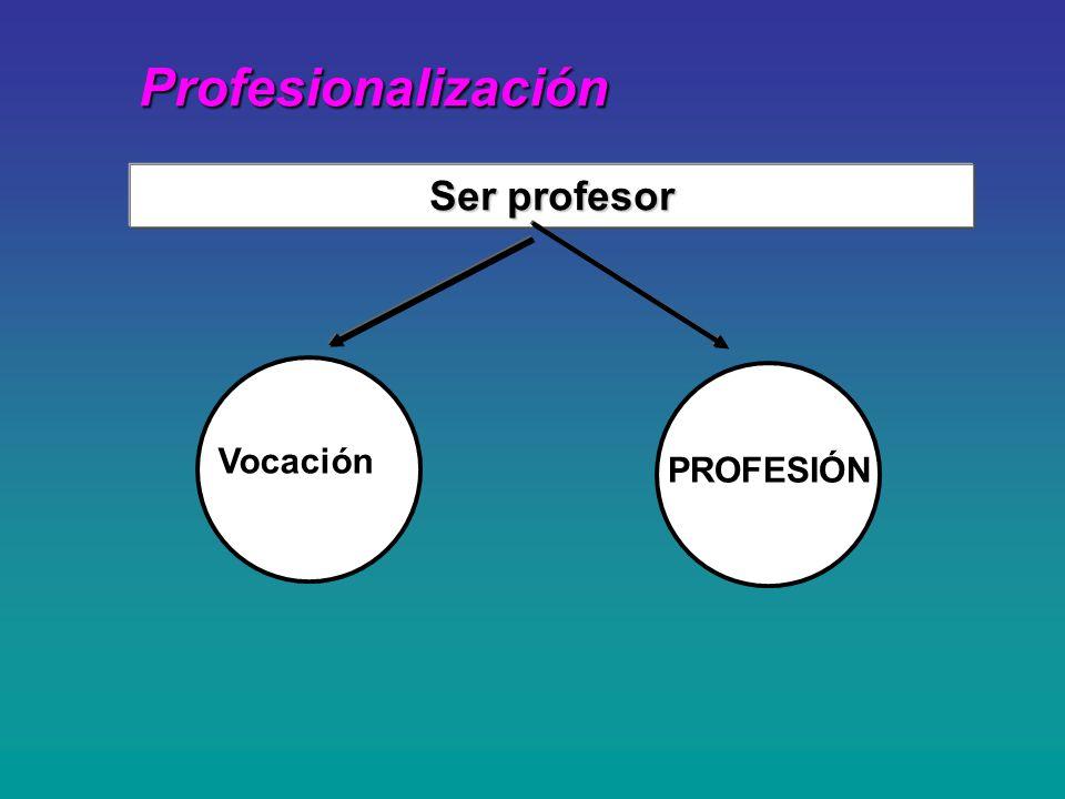 Profesionalización Profesionalización Vocación Ser profesor PROFESIÓN