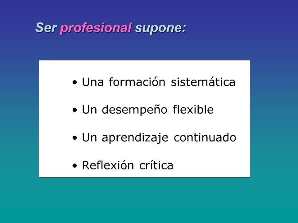 Ser profesional supone: Una formación sistemática Un desempeño flexible Un aprendizaje continuado Reflexión crítica