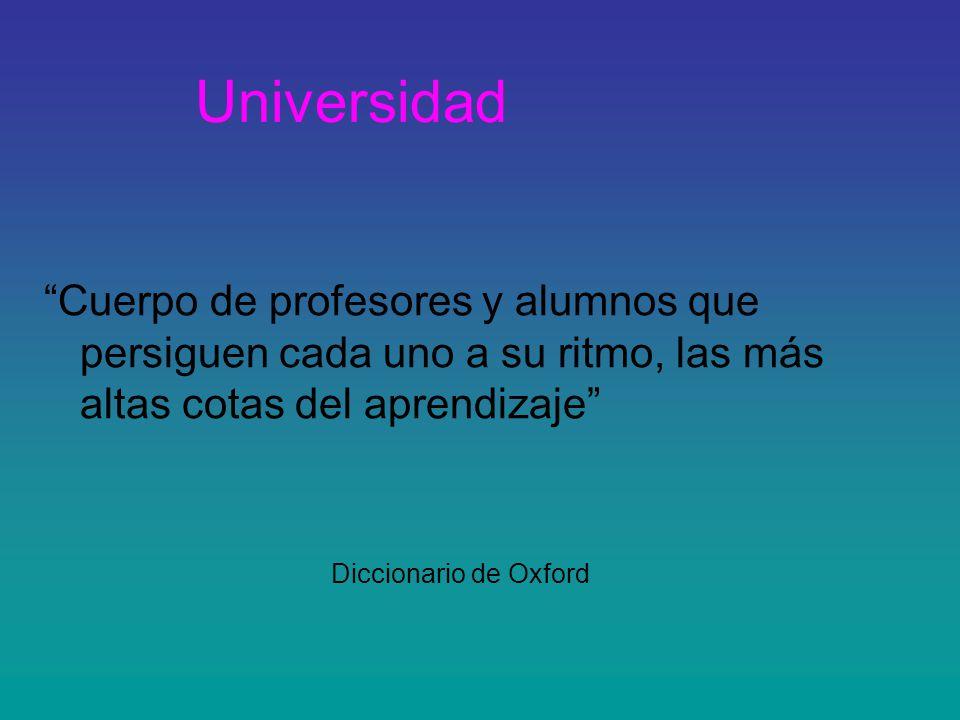 Universidad Cuerpo de profesores y alumnos que persiguen cada uno a su ritmo, las más altas cotas del aprendizaje Diccionario de Oxford