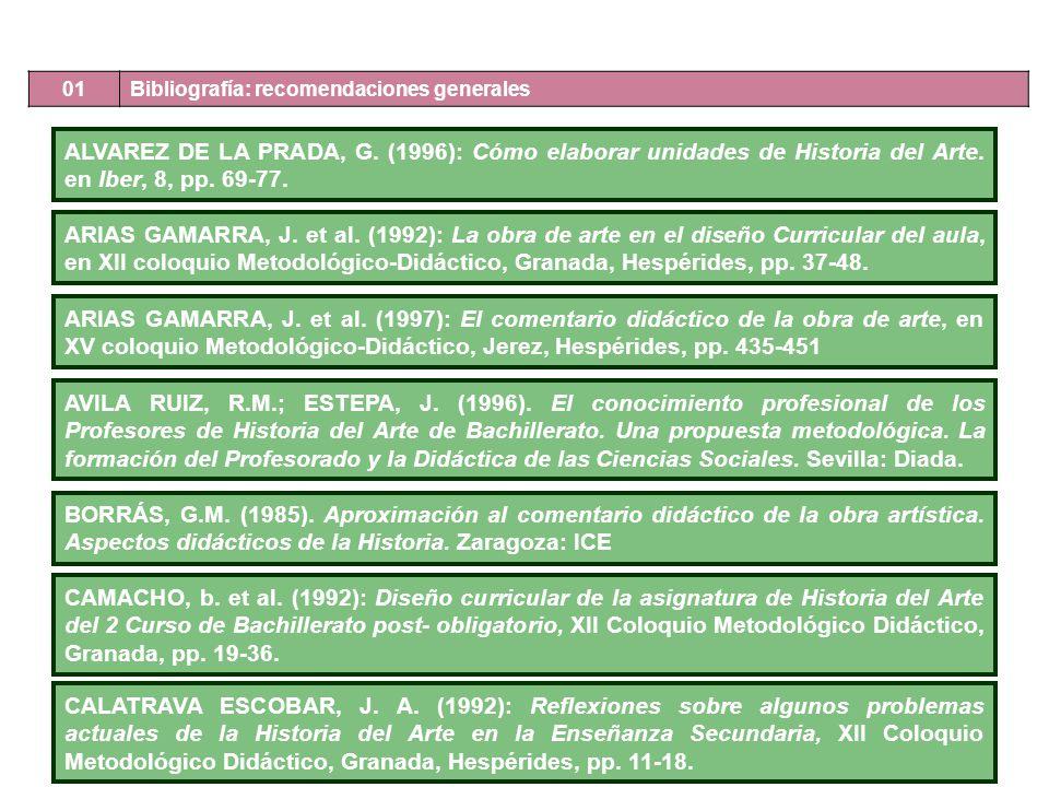 ALVAREZ DE LA PRADA, G. (1996): Cómo elaborar unidades de Historia del Arte. en Iber, 8, pp. 69-77. ARIAS GAMARRA, J. et al. (1992): La obra de arte e