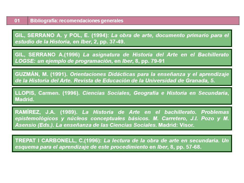 GIL, SERRANO A. y POL, E. (1994): La obra de arte, documento primario para el estudio de la Historia, en Iber, 2, pp. 37-49. GIL, SERRANO A.(1996) La