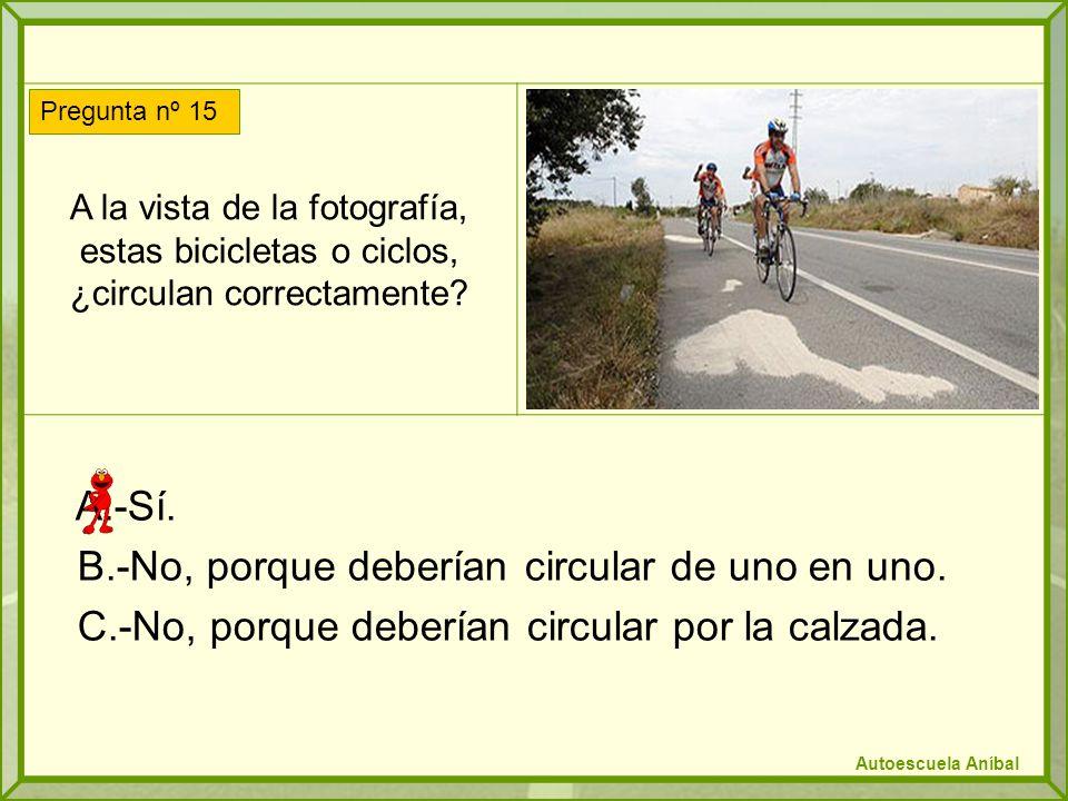 A la vista de la fotografía, estas bicicletas o ciclos, ¿circulan correctamente.