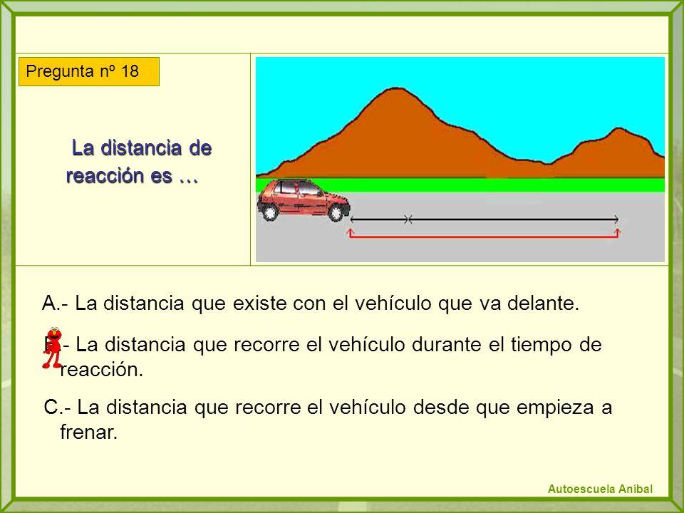 La distancia de reacción es … La distancia de reacción es … A.- La distancia que existe con el vehículo que va delante.