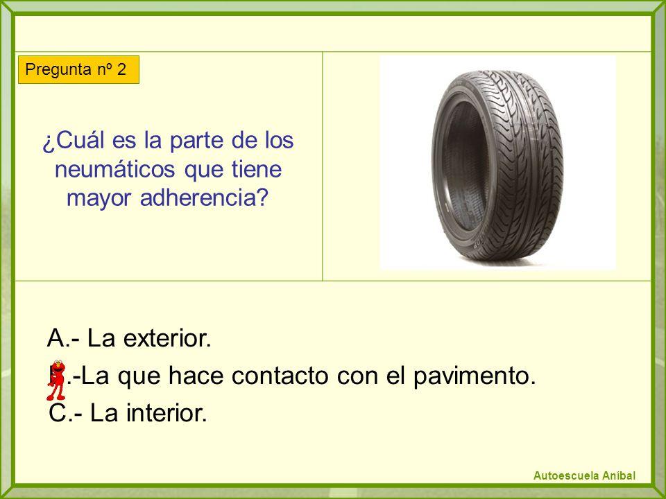 ¿Cuál es la parte de los neumáticos que tiene mayor adherencia.