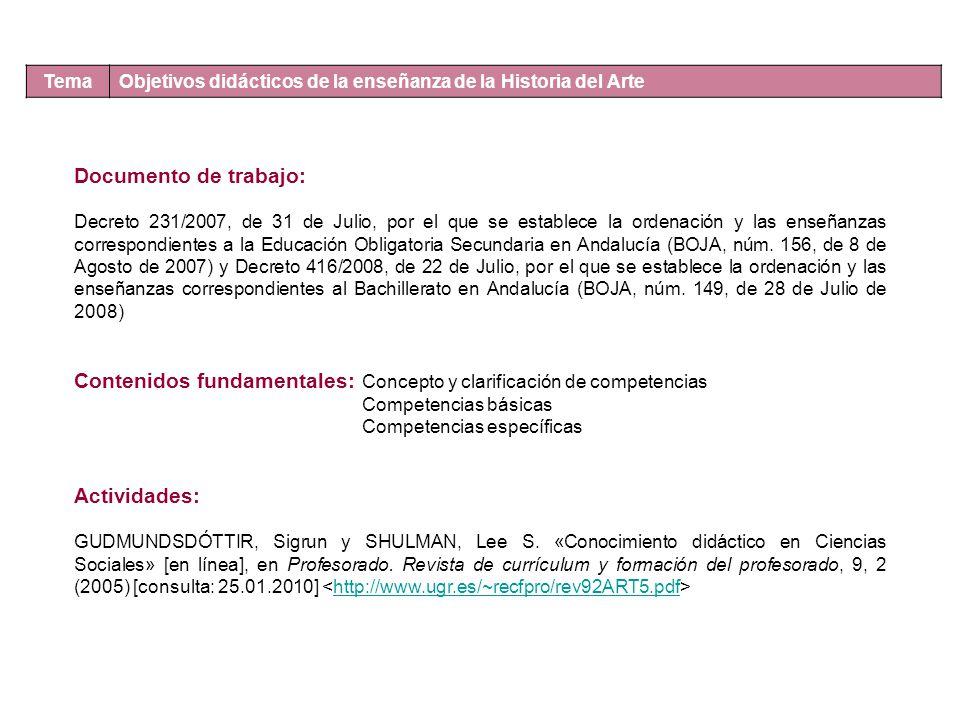 Jueves, 25.02.2010 Tema Objetivos didácticos de la enseñanza de la Historia del Arte Documento de trabajo: Decreto 231/2007, de 31 de Julio, por el qu