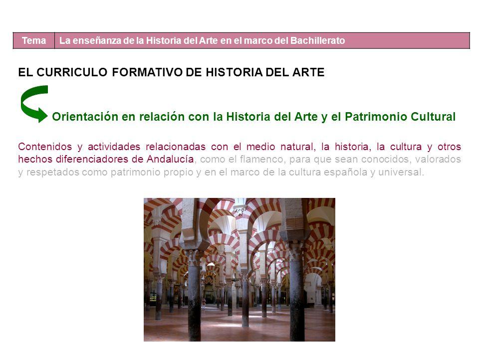 Tema La enseñanza de la Historia del Arte en el marco del Bachillerato EL CURRICULO FORMATIVO DE HISTORIA DEL ARTE Orientación en relación con la Hist