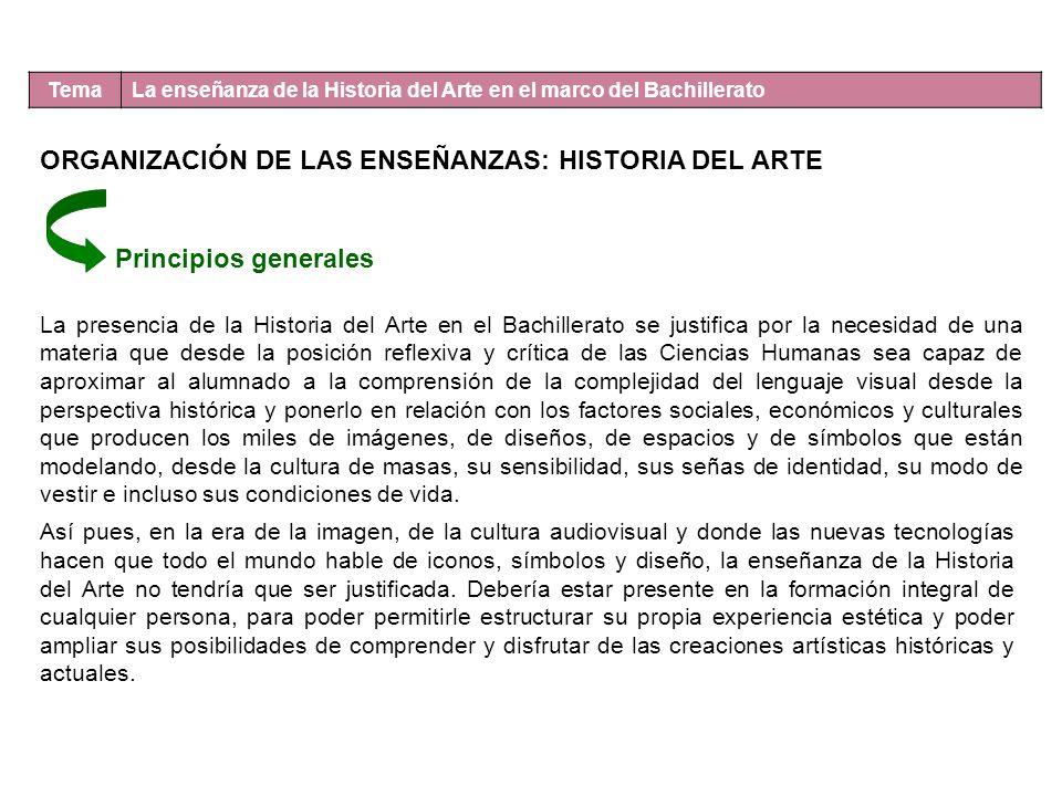 Tema La enseñanza de la Historia del Arte en el marco del Bachillerato ORGANIZACIÓN DE LAS ENSEÑANZAS: HISTORIA DEL ARTE Principios generales La prese