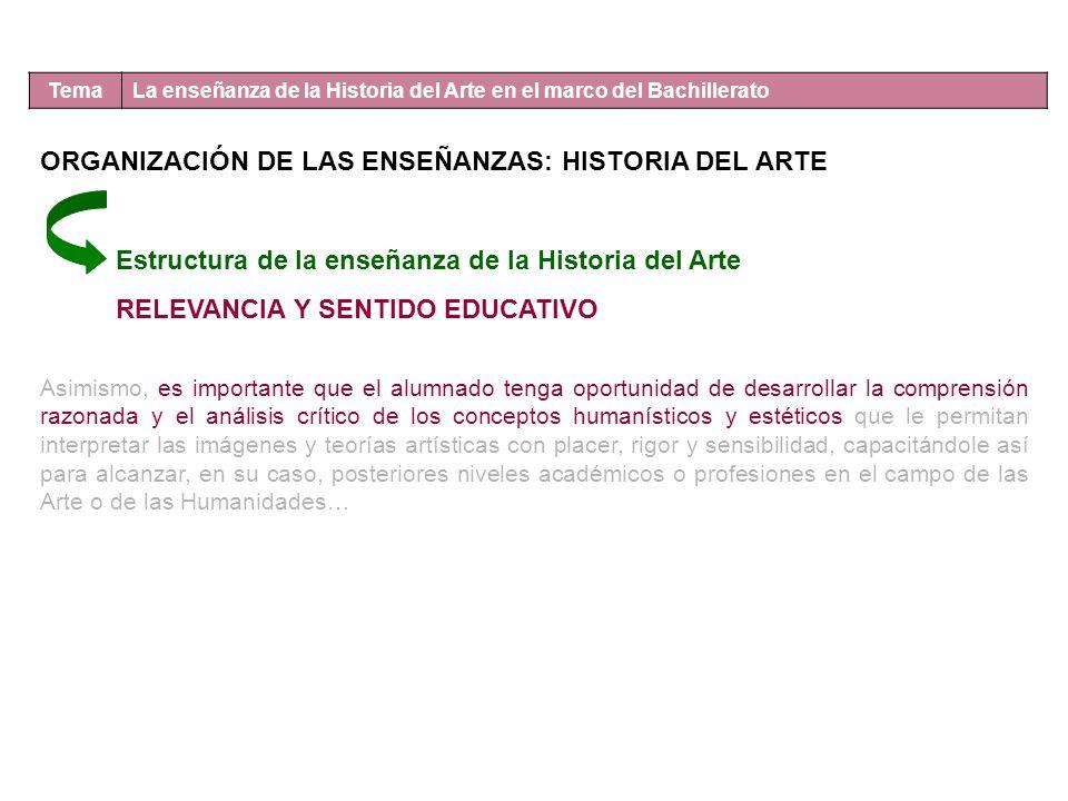 Tema La enseñanza de la Historia del Arte en el marco del Bachillerato Estructura de la enseñanza de la Historia del Arte RELEVANCIA Y SENTIDO EDUCATI