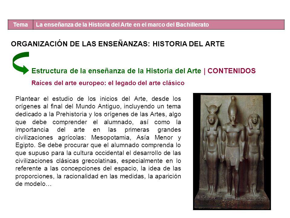 Tema La enseñanza de la Historia del Arte en el marco del Bachillerato Estructura de la enseñanza de la Historia del Arte | CONTENIDOS Raíces del arte