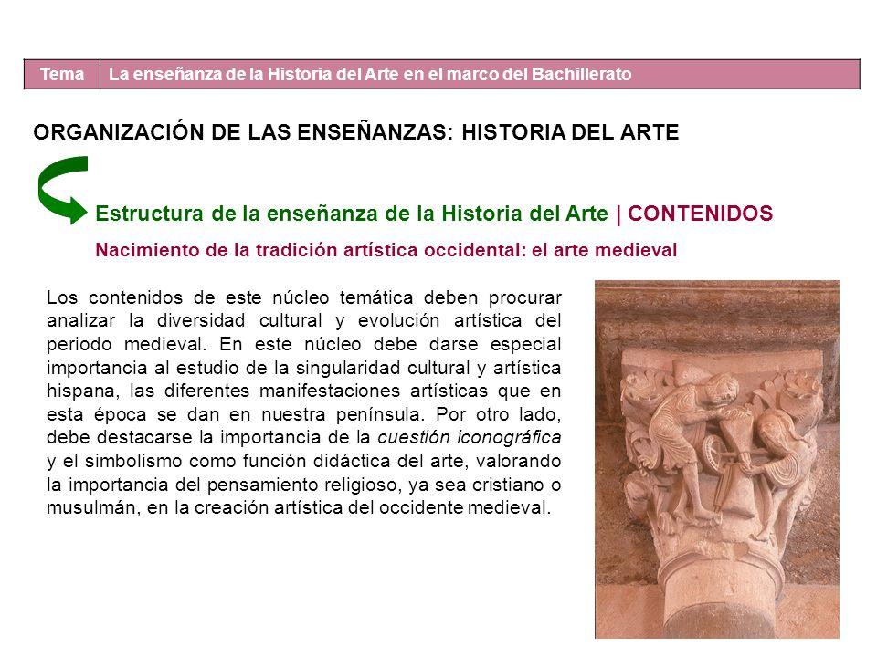 Tema La enseñanza de la Historia del Arte en el marco del Bachillerato Estructura de la enseñanza de la Historia del Arte | CONTENIDOS Nacimiento de l