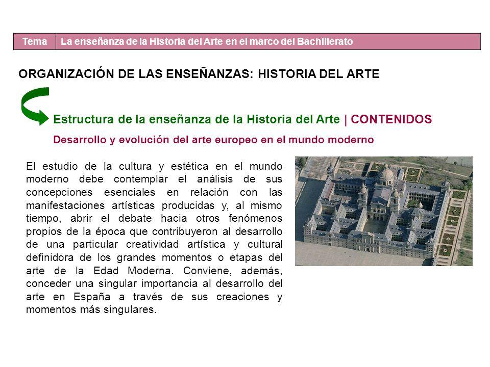 Tema La enseñanza de la Historia del Arte en el marco del Bachillerato Estructura de la enseñanza de la Historia del Arte | CONTENIDOS Desarrollo y ev