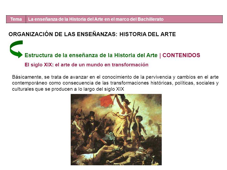 Tema La enseñanza de la Historia del Arte en el marco del Bachillerato Estructura de la enseñanza de la Historia del Arte | CONTENIDOS El siglo XIX: e