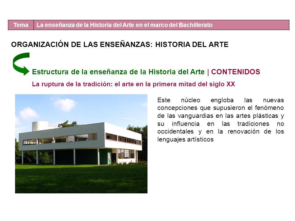 Tema La enseñanza de la Historia del Arte en el marco del Bachillerato Estructura de la enseñanza de la Historia del Arte | CONTENIDOS La ruptura de l