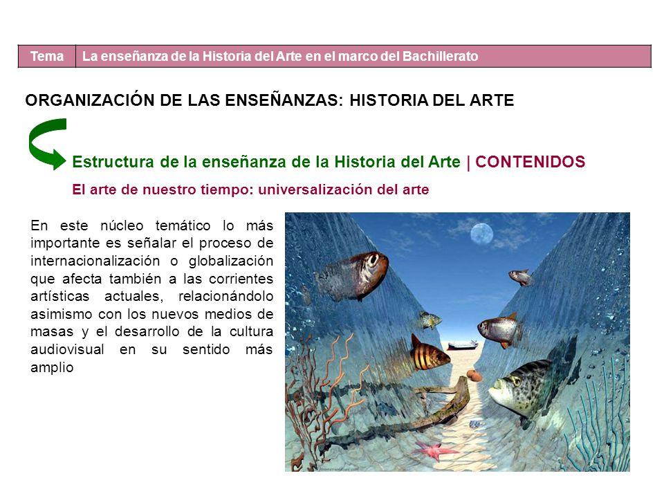 Tema La enseñanza de la Historia del Arte en el marco del Bachillerato Estructura de la enseñanza de la Historia del Arte | CONTENIDOS El arte de nues