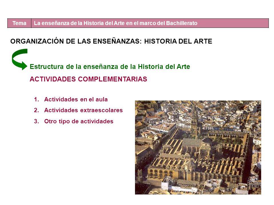 Tema La enseñanza de la Historia del Arte en el marco del Bachillerato ORGANIZACIÓN DE LAS ENSEÑANZAS: HISTORIA DEL ARTE Estructura de la enseñanza de