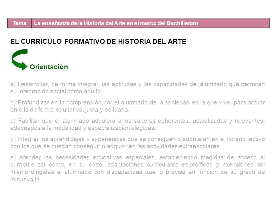 Tema La enseñanza de la Historia del Arte en el marco del Bachillerato EL CURRICULO FORMATIVO DE HISTORIA DEL ARTE Orientación a) Desarrollar, de form