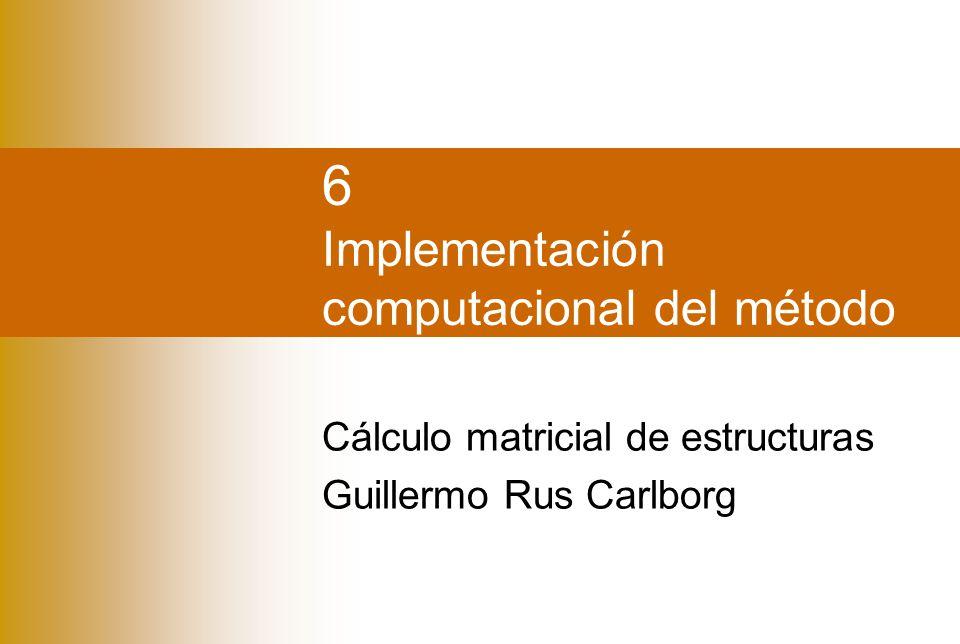 IntroducciónProgramaEntradaMatricesMontajeResultados Guillermo Rus Carlborg Montaje y resolución del sistema de ecuaciones Montaje de K repetir para barras b Montaje de f repetir para nudos repetir para barras