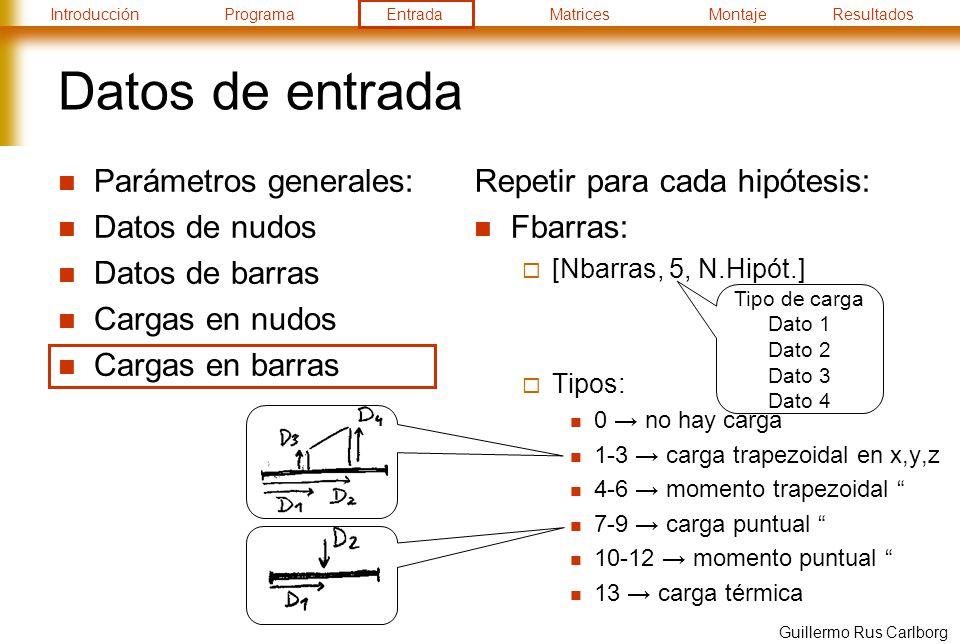 IntroducciónProgramaEntradaMatricesMontajeResultados Guillermo Rus Carlborg Datos de entrada Parámetros generales: Datos de nudos Datos de barras Cargas en nudos Cargas en barras Repetir para cada hipótesis: Fbarras: [Nbarras, 5, N.Hipót.] Tipos: 0 no hay carga 1-3 carga trapezoidal en x,y,z 4-6 momento trapezoidal 7-9 carga puntual 10-12 momento puntual 13 carga térmica Tipo de carga Dato 1 Dato 2 Dato 3 Dato 4