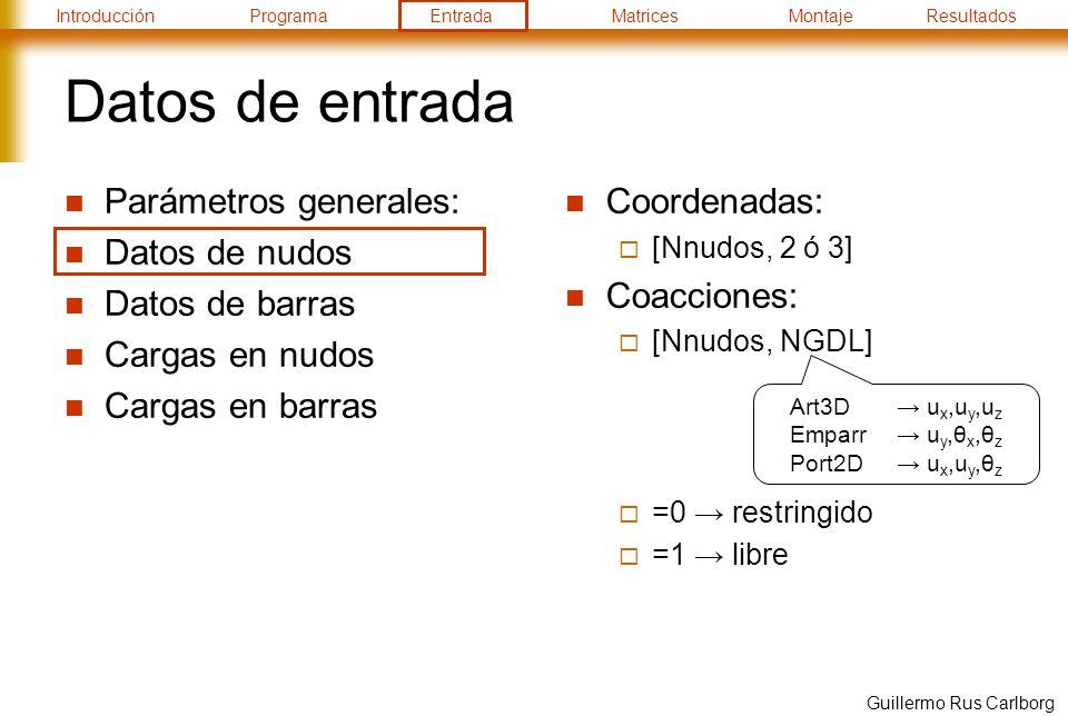 IntroducciónProgramaEntradaMatricesMontajeResultados Guillermo Rus Carlborg Datos de entrada Parámetros generales: Datos de nudos Datos de barras Cargas en nudos Cargas en barras Coordenadas: [Nnudos, 2 ó 3] Coacciones: [Nnudos, NGDL] =0 restringido =1 libre Art3D u x,u y,u z Emparr u y,θ x,θ z Port2D u x,u y,θ z