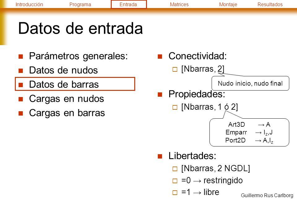 IntroducciónProgramaEntradaMatricesMontajeResultados Guillermo Rus Carlborg Datos de entrada Parámetros generales: Datos de nudos Datos de barras Cargas en nudos Cargas en barras Conectividad: [Nbarras, 2] Propiedades: [Nbarras, 1 ó 2] Libertades: [Nbarras, 2 NGDL] =0 restringido =1 libre Art3D A Emparr I z,J Port2D A,I z Nudo inicio, nudo final