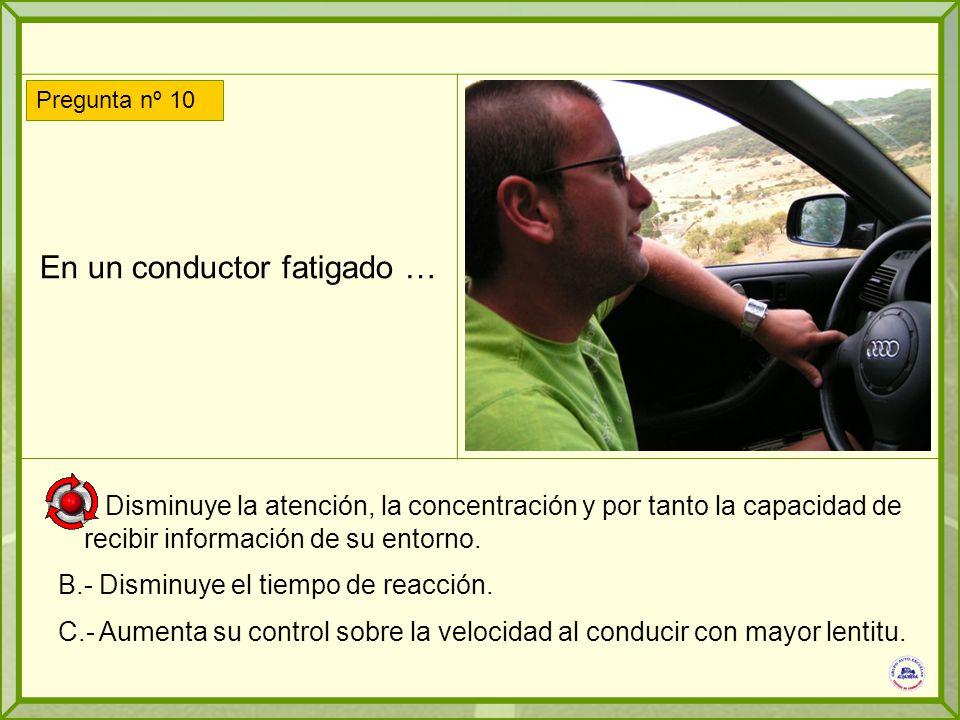 En un conductor fatigado … A.- Disminuye la atención, la concentración y por tanto la capacidad de recibir información de su entorno.